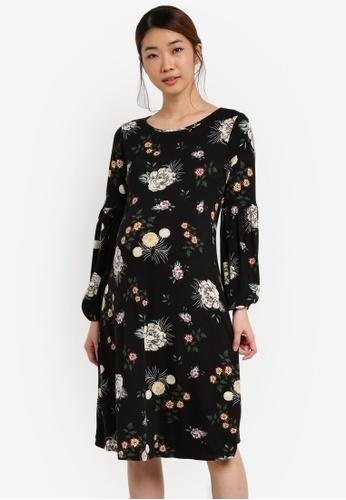 Dorothy Perkins black Maternity Jersey Frill Sleeve Dress DO816AA0SFACMY_1
