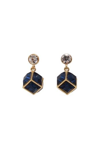 Jaysa Collection blue Sapphire Cube Earrings With Crystal Stud JA875AC0GO92SG_1