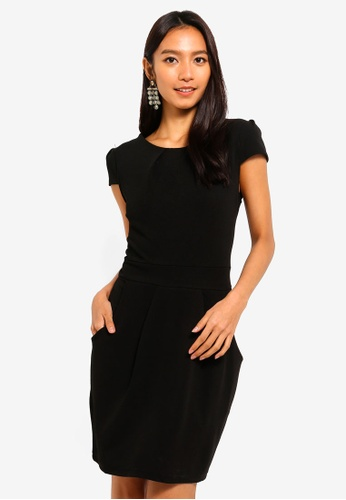 Mela London black Capped Sleeve Tulip Dress 2DF6AAA781D7CCGS_1
