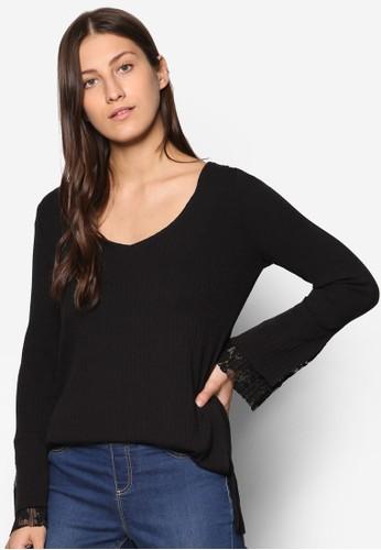 Collection 蕾絲拼接羅紋長袖T-shirt、 服飾、 上衣ZALORACollection蕾絲拼接羅紋長袖上衣最新折價
