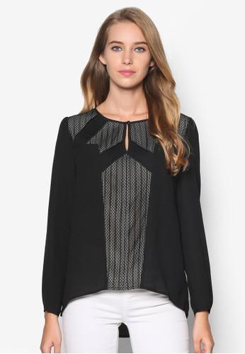 蕾絲邊飾長袖esprit retail上衣, 服飾, 上衣