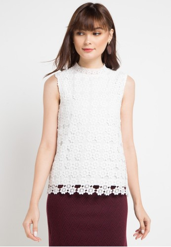 Icons white Crochet Lace Sleeveless Top A9C92AA6881EFCGS_1