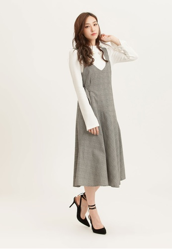 H:CONNECT black Check Pattern Strap Dress 0C314AA975483BGS_1