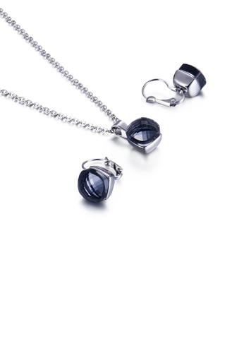 Glamorousky blue Fashion Simple Geometric Square 316L Stainless Steel Necklace and Earring Set with Dark Blue Cubic Zirconia 4E684ACAF8F066GS_1