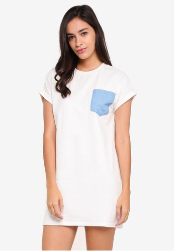 Something Borrowed white Pocket Detail Tee Dress 518A9AA6DC093BGS_1
