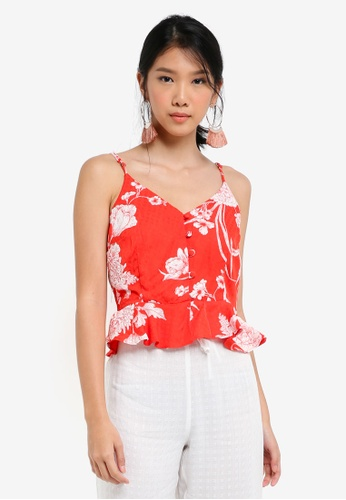 River Island red Floral Print Button Front Cami Top 90A8AAA2CF4A01GS_1