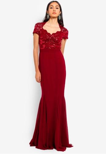 Goddiva red Sequin And Lace Scalloped Neckline Maxi Dress 427FAAA4DE8977GS_1