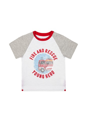 Mothercare white Mothercare - fire and rescue sequin t-shirt 935D0KA9020A8AGS_1
