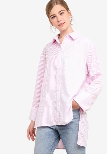 Something Borrowed pink Contrast Striped Boyfriend Shirt 8BBF2AA59DA230GS_1