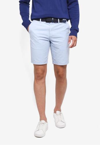 River Island blue Oxford Chino Shorts F0A1EAA695FA0DGS_1