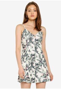 2bf505b9d Miss Selfridge green Multi Colour Tropical Print Mini Tea Dress  AE672AA5309F45GS_1