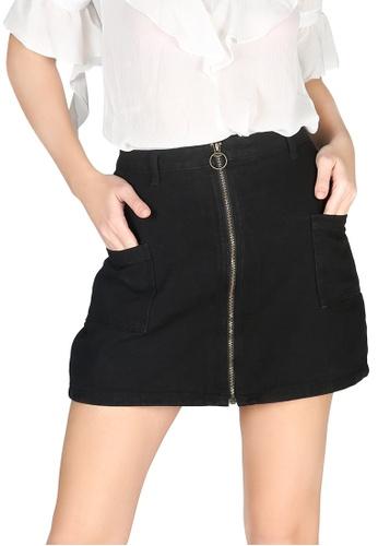 London Rag black London Rag Women's Black Zip Front Mini Skirt 79102AA486ADA4GS_1
