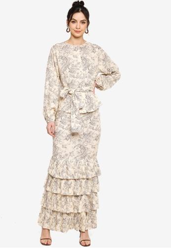 Zalia grey and beige Toile Pleated Tier Dress 6EF23AA67C74F7GS_1