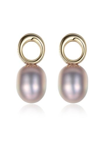 SUNRAIS gold Premium color stone gold simple design earrings 12B23AC15ED531GS_1