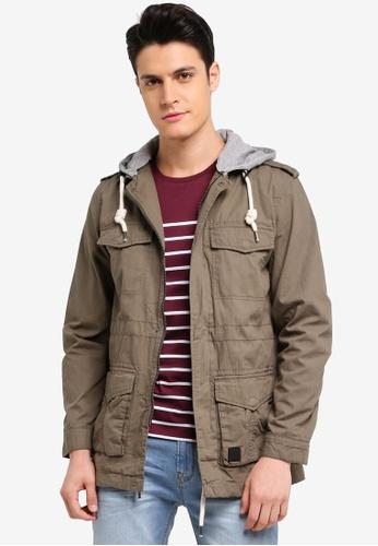 Indicode Jeans 綠色 休閒連帽夾克軍外套 8584EAA379D059GS_1