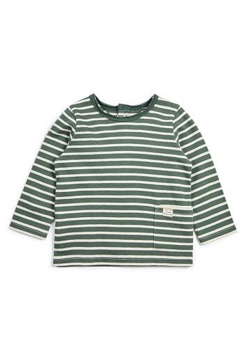 Mamas and Papas grey and white Long Sleeved Stripe T-Shirt CB17EKAFDDEEA9GS_1