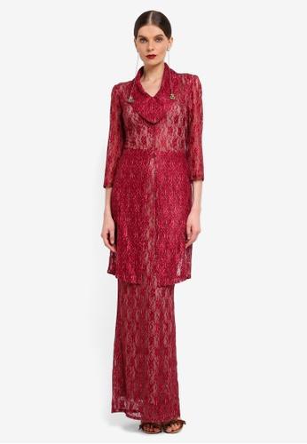 Rizalman for Zalora red Long Lace Kebaya RI909AA0SF13MY_1