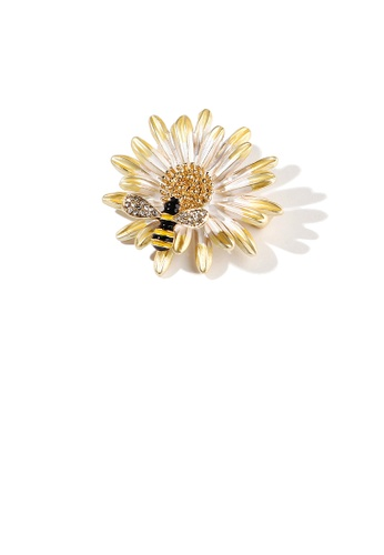Glamorousky white Fashion and Elegant Plated Gold Daisy Bee Brooch with Cubic Zirconia 81E1BAC1F56056GS_1