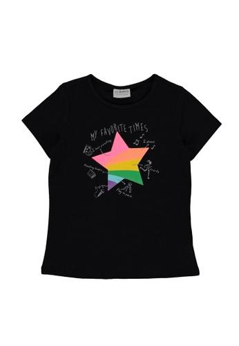 LC Waikiki black Girl's Printed Cotton T-Shirt A156BKA5C48400GS_1