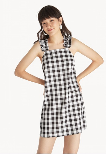 c1122da39e273 Buy Pomelo Gingham Ruffle Sleeveless Dress - Black Online on ZALORA ...