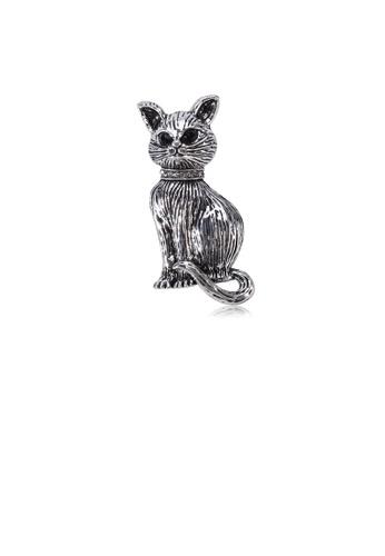 Glamorousky silver Fashion Cute Cat Brooch 5B2F7AC20479EDGS_1