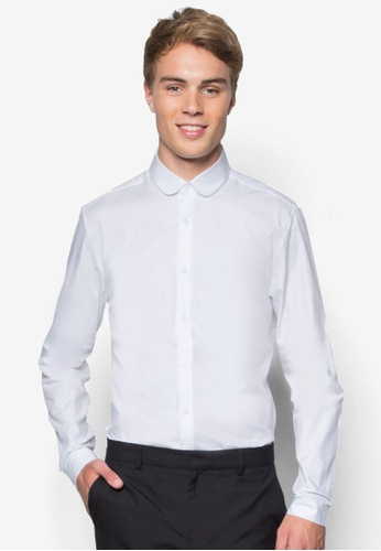 Topman white Premium White Penny Collar Long Sleeve Smart Shirt TO413AA99PQEMY_1