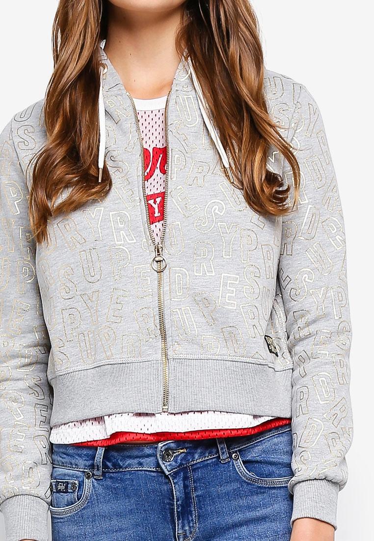 superdry ace marl metallic zip hoodie grey dawn bfbaq. Black Bedroom Furniture Sets. Home Design Ideas