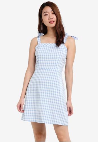 ZALORA blue Tie Shoulder Fit & Flare Dress 781CCAA3525BECGS_1