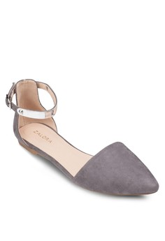 Ankle Strap Ballerinas With Metal Trimmings