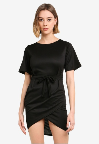 e9b59d31cd058 Buy Boohoo Petite Pleat Detail Tie Waist Wrap Dress | ZALORA HK