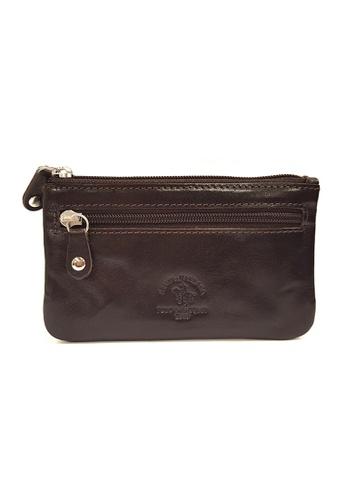 Santa Barbara Polo & Racquet Club brown Santa Barbara Luxurious Leather Zip Key Pouch SA678AC0GQ9PSG_1