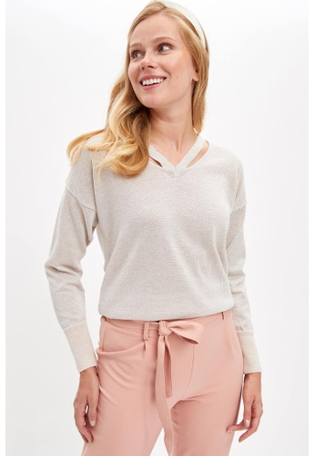 DeFacto 粉紅色 Long Sleeve V-Neck Pullover B86C5AA6DBAB05GS_1