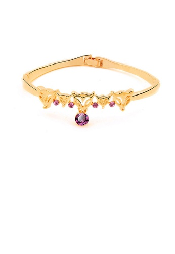 Glamorousky purple Cute Fox Bangle with Austrian Element Crystal 20CFEACF45A643GS_1