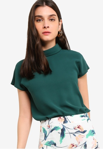 ZALORA 綠色 Rolled Neck Top C886BAA8F83A2AGS_1