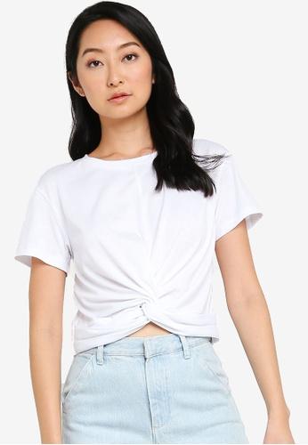 ZALORA BASICS white Knot Detail T-Shirt AE524AA5F13112GS_1