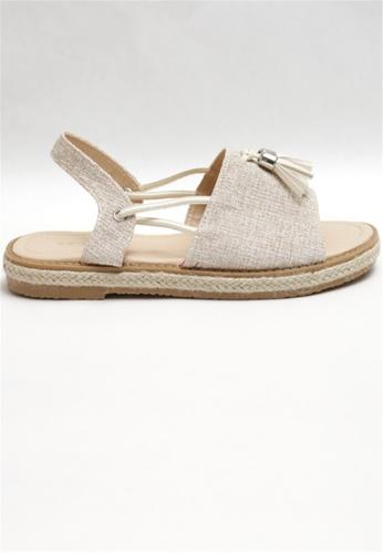 Crystal Korea Fashion beige Korean-made Summer Fabric Leather Flat Sandals 5A4F4SH678F223GS_1