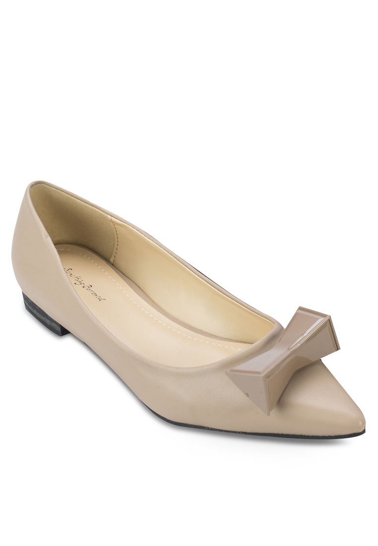 Pointed Toe Metal Bow Flat