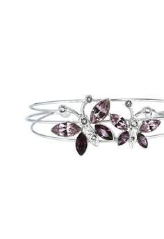 Paris Bijoux BB10844A Rhodium plated Bangle - Light Amethsyt/Amethyst/Crystal