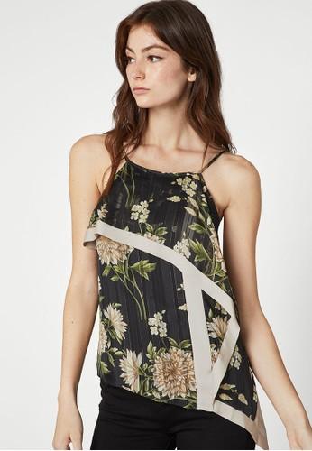 BCBG Max Azria black Garden Floral Handkerchief Top B56C7AA92FCA12GS_1