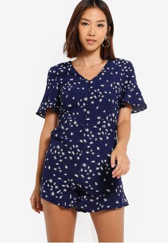 Something Borrowed 海軍藍色 印花連身短褲 F3635AA60DD05DGS_1