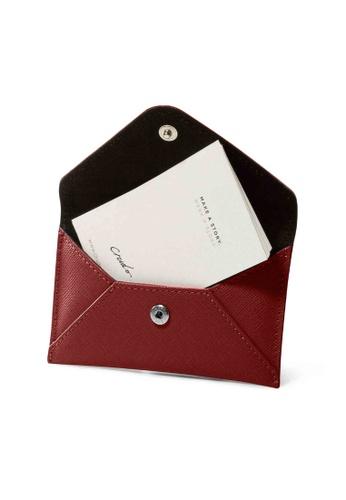 Crudo Leather Craft red Senz'altro Name Card Holder - Saffiano Wine Red 7A150AC8DDAE11GS_1