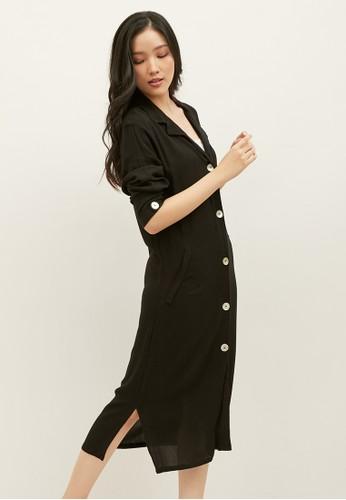 Elans black Sakura Black Textured Pajama Dress D6096AA409618DGS_1
