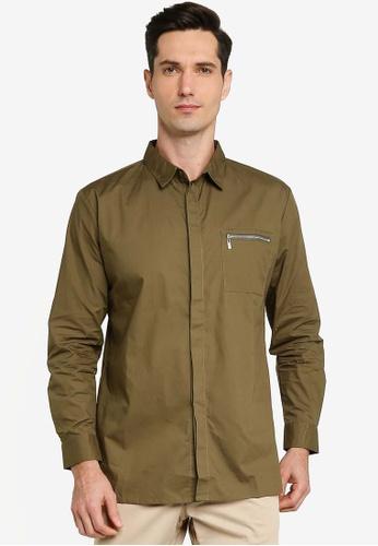 ZALORA BASICS green Zip Pocket Long Sleeve Shirt 7E60DAA7B221AFGS_1