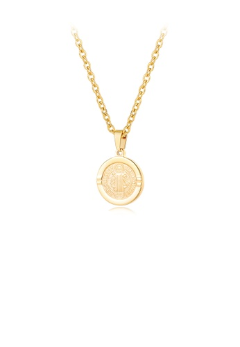 Glamorousky silver Fashion and Simple Plated Gold Christ Geometry Round 316L Stainless Steel Pendant with Necklace For Men F1BCFACAAF7FEFGS_1