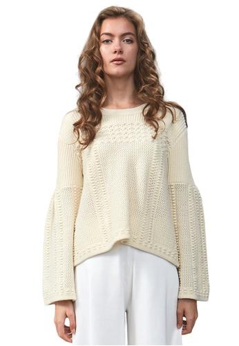 22 Factor white Chloe Bouclé Tweed Cropped Top 6D8BBAA24E9D58GS_1