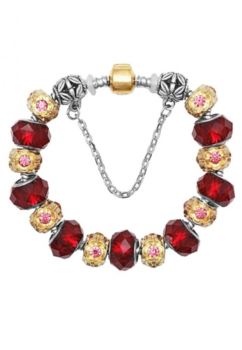 LOVENGIFTS red and pink and silver and gold LOVENGIFTS Rochas Floral Beaded Bracelet LO429AC86NZHMY_1