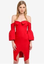 Vesper red Rhian Bardot Neck Sleeve Detail Dress VE733AA0S77WMY_1