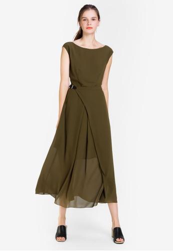 Hopeshow green Sleeveless 1 Piece Dress with Belt 1645BAA19E53DEGS_1