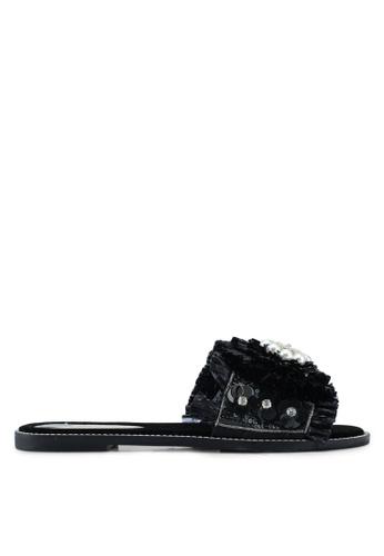 55e9bb5c5ac2e9 River Island black Hawaii - Flower Bead Sandal 36F36SHBB63B39GS 1