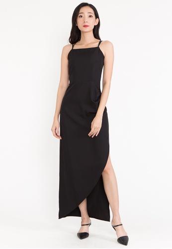 BEBEBEIGE black BebeBeige Single Strap Slim Fit Cross Back Elegant Casual Long Dinner Dress 1CDC5AA43E6D8EGS_1